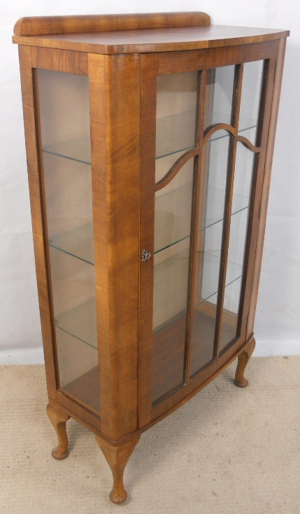 Walnut Narrow China Display Cabinet In The Antique Queen Anne Style SOLD